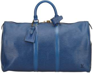 Louis Vuitton Vintage Keepall Blue Leather Travel Bag