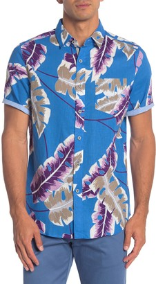 Natural Blue Leaf Print Short Sleeve Hawaiian Shirt