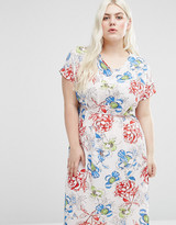 Koko Plus Shift Dress With Side Splits In Rose Print