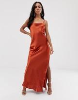 Asos Design DESIGN cami maxi slip dress in high shine satin with strappy back