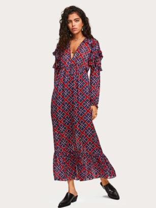 Scotch & Soda Pink & Blue Print Maxi Frill Dress - XS - 8