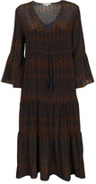 Gold Hawk Ikat Flutter Sleeve Dress