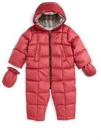 Burberry 'Skylar' Quilted Down Snowsuit (Baby Girls)