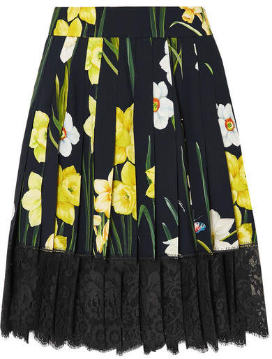 Dolce & Gabbana Lace-trimmed Pleated Floral-print Crepe Mini Skirt - Black