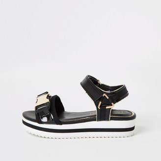 River Island Girls Black clip strap cleated sandals