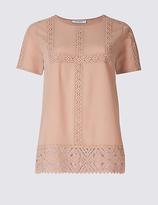Classic Lace Round Neck Short Sleeve T-Shirt