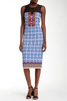 ECI Sleeveless Illusion Yoke Border Print Sheath Dress