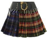 Chopova Lowena - Pleated Tartan-check Wool-blend Mini Skirt - Womens - Black Multi