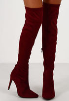 Pink Boutique Cristanne Burgundy Suede Over The Knee Boots