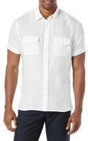 Perry Ellis Short Sleeved Button Front Linen Shirt