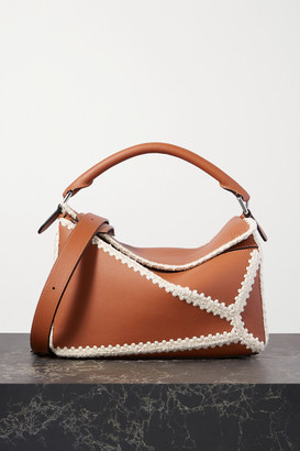Loewe Puzzle Medium Crochet-trimmed Leather Shoulder Bag - Tan