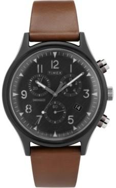 Timex Boutique Timex MK1 Supernova Chronograph 42mm Dark Brown Leather Strap Watch