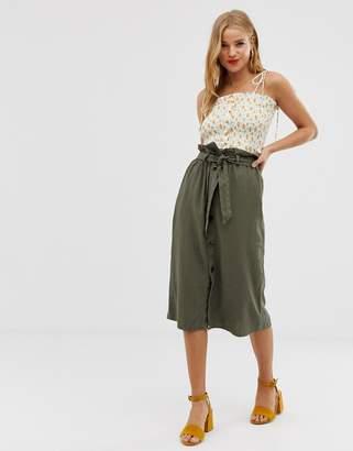 JDY button through linen midi skirt-Green