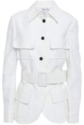 Oscar de la Renta Belted Cotton-crepe Jacket