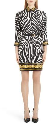 Versace Contrast Trim Zebra Print Belted Silk Shirtdress