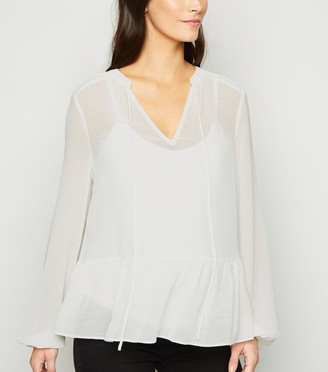 New Look Maternity Tie Neck Peplum Blouse