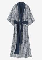 Toast Block Print Flower Cotton Kimono Gown