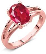 Gem Stone King 1.80 Ct Oval Mystic Quartz 18K Rose Gold Solitaire Ring
