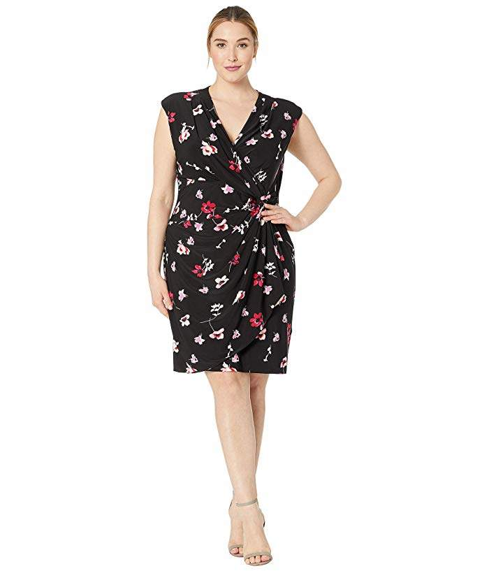 Plus Size B817 Covina Floral Matte Jersey Rodya Cap Sleeve Day Dress
