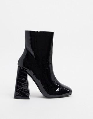 New Look heeled boots in black croc