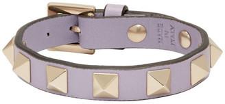 Valentino Purple Garavani Leather Rockstud Bracelet