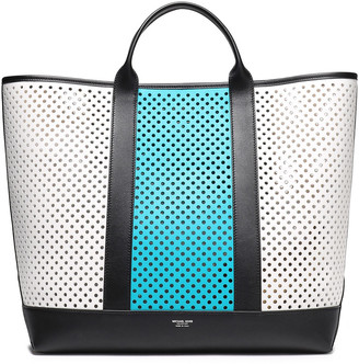 Michael Kors Georgica Extra-large Perforated Color-block Leather Tote