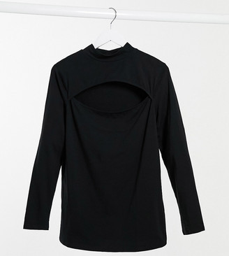 New Look Plus New Look Curve cutout front turtleneck top in black