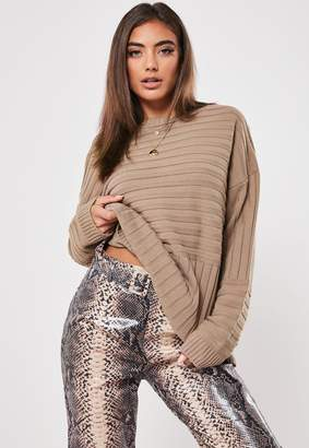 Missguided Mink Extreme Rib Two Way Knitted Jumper