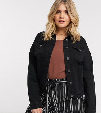 Vero Moda Curve denim jacket in black