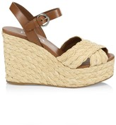 Prada Raffia & Leather Wedge Sandals