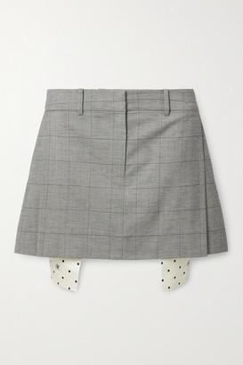 Monse Checked Wool-blend Mini Skirt - Black