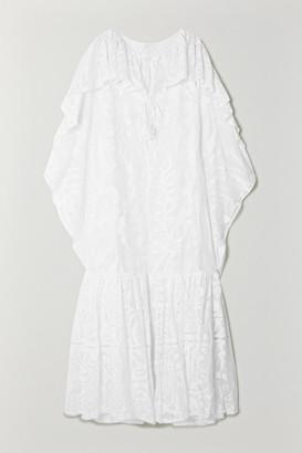 Emilio Pucci Samoa Tasseled Ruffled Cotton-blend Lace Kaftan - White