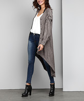 Reborn Collection Women's Open Cardigans Oatmeal - Oatmeal Wool-Blend Ruched Sleeve Hi-Low Cardigan - Women
