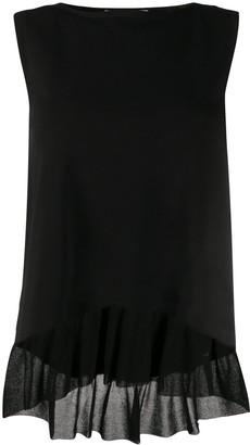 D-Exterior Ruffled Hem Knitted Top