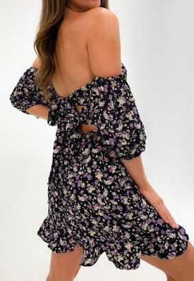 Missguided Purple Floral Print Tie Back Ruffle Hem Dress