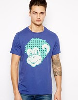 Paul Smith T-Shirt with Cheeky Monkey Print - Blue