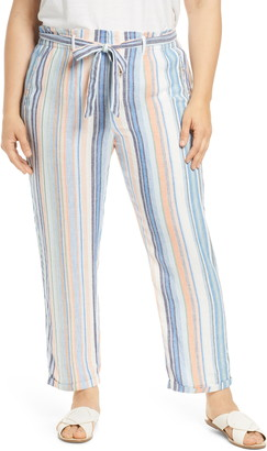 Caslon Stripe Tie Belted Linen Blend Pants