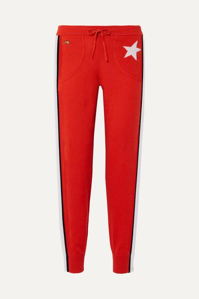 Bella Freud Billie Striped Cashmere Track Pants - Red