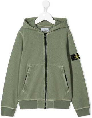 Stone Island Junior Logo Patch Zipped Hoodie