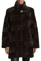 Gorski Horizontal-Striped Mink Fur Long Coat