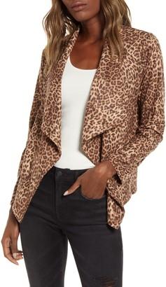 BB Dakota Leopard Print Drape Jacket