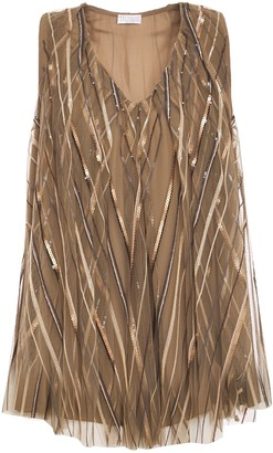 Brunello Cucinelli Layered Sequin-embellished Tulle Blouse