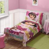 Dora the Explorer Loves Pets Toddler 4 Piece Bedding Set