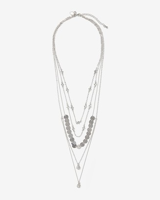 Express Layered Chain Pave Circle Pendant Necklace