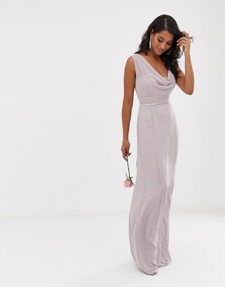 Maids To Measure Maids to Measure bridesmaid maxi dress with satin belt and cowl neck-Grey