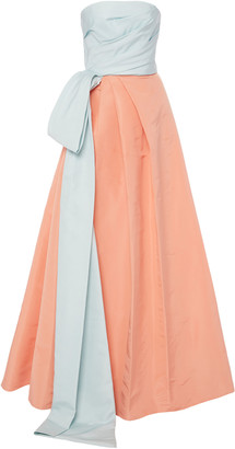 Monique Lhuillier Two-Tone Tie-Detailed Silk-Faille Gown