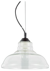 IdealLux Ideal Lux - Bistro SP1 Plate Pendant Light - Black/Glass