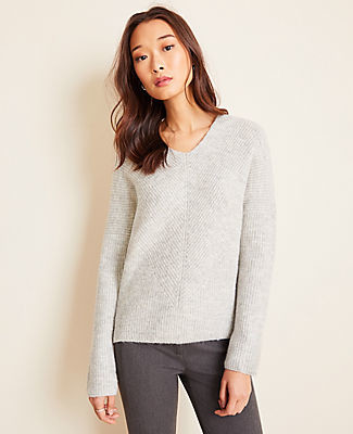 Ann Taylor Double V Ribbed Sweater