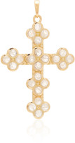 Ashley Mccormick Ashley McCormick Cross 18K Gold and Moonstone Necklace