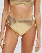 New Look Metallic High Leg Bikini Bottom